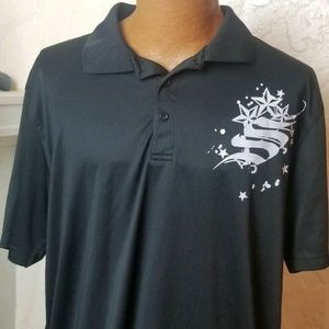 Harriton Mens Golf Rugby Polo Shirt Black XL
